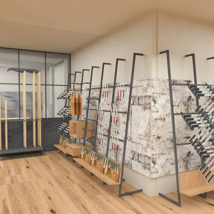Innenarchitektur Federleicht Entwurf Konzept Ladenbau Shop Design Werkzeughandel