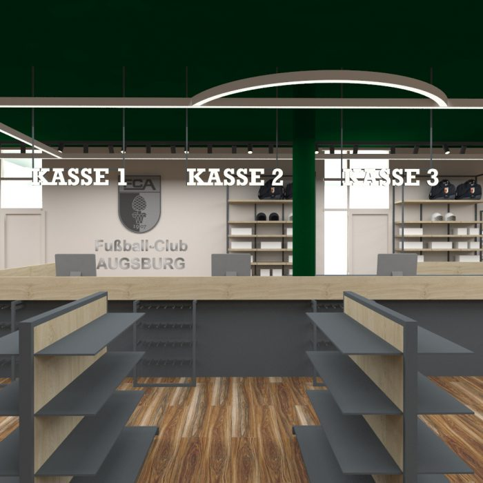 Innenarchitektur Federleicht Ladenbau Shop Design Enwtwurf Fan Shop FC Augsburg ​ Trend Store Shop Creation GmbH