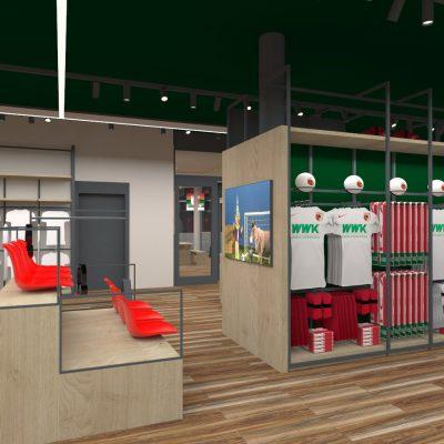Innenarchitektur Federleicht Ladenbau Shop Design Enwtwurf Fan Shop FC Augsburg  Trend Store Shop Creation GmbH