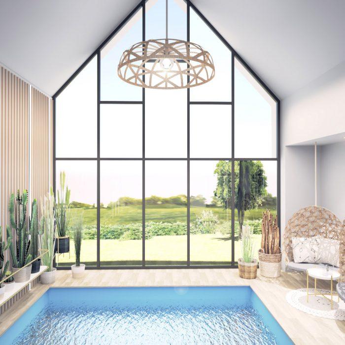Entwurf Schwimmbad Innenarchitektur Federleicht