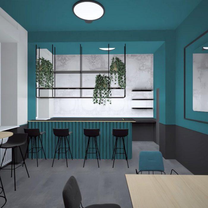 Innenarchitektur Federleicht Entwurf Projekt Bürokonzept CoWork Space