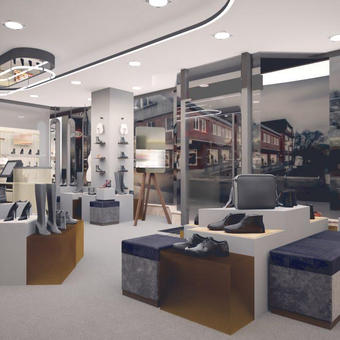 Innenarchitektur Federleicht Entwurf Schuhgeschäft München Ladenbau Shop Design