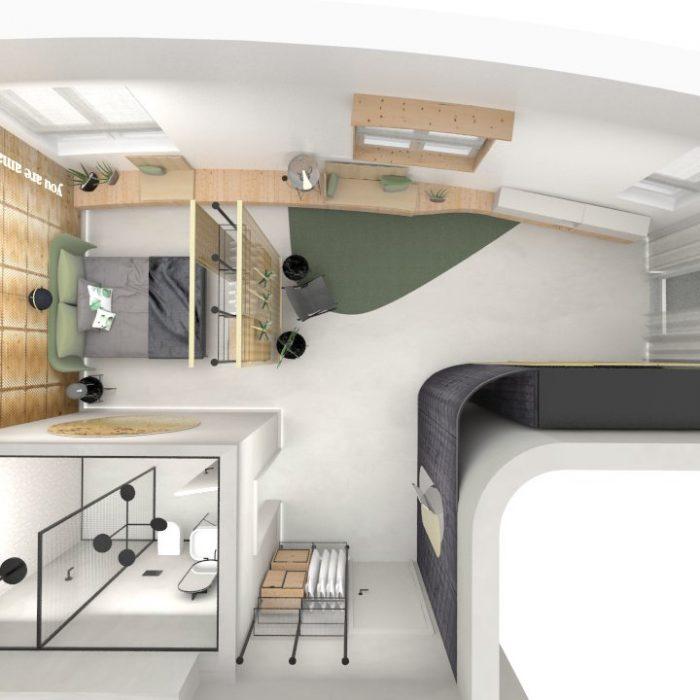 Entwurf Apartment Innenarchitektur Federleicht