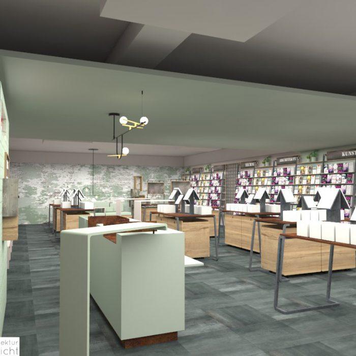 Innenarchitektur Federleicht Entwurf Konzept Buchhandlung
