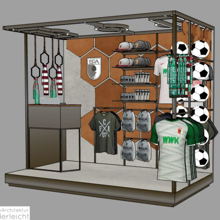 Innenarchitektur Federleicht Ladenbau Shop Design Pop Up Stand FC Augsburg ​
