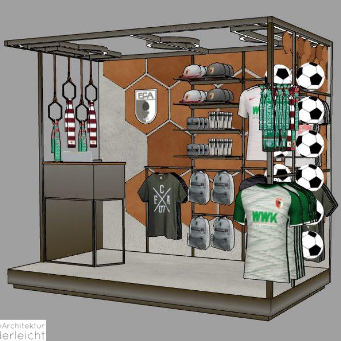 Innenarchitektur Federleicht Ladenbau Shop Design Pop Up Stand FC Augsburg 